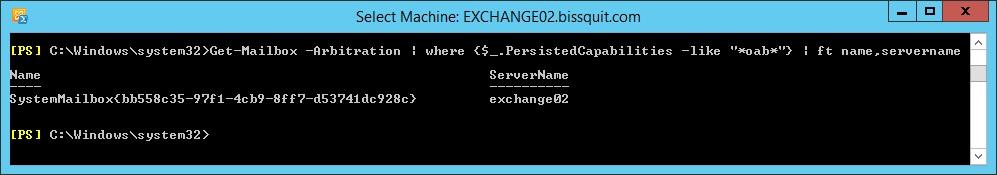 1 - get-mailbox -arbitration name servername