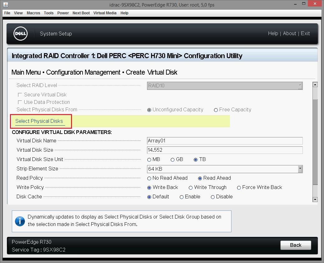 Dell PERC H730 configuring 16